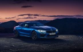 Картинка закат, вечер, BMW, сумерки, Coupe, Competition, UK-Spec, 2019, BMW M8, F92
