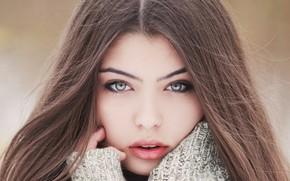 Картинка girl, long hair, brown hair, photo, photographer, blue eyes, model, bokeh, lips, face, brunette, portrait, …