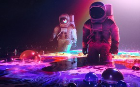 Картинка Цветы, Цветок, Краска, Скафандр, Человек, Стиль, Астронавты, Астронавт, Космонавт, Fantasy, Арт, Графика, Art, Flower, Flowers, …
