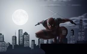 Картинка город, луна, мечи, Deadpool, Дедпул