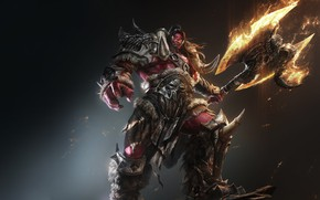 Картинка Warcraft, Fire, Orc, Fan Art, Armor, Axe, Game Art, by G-host Lee, G-host Lee, Red …