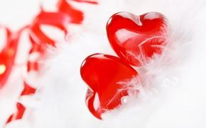 Картинка любовь, ленты, сердце, перья, love, heart