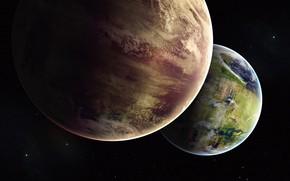 Картинка Звезды, Планета, Космос, Планеты, Planets, Арт, Stars, Space, Art, Спутник, Planet, Астероиды, Illustration, Concept Art, …