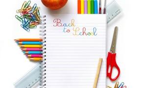 Картинка яблоко, карандаши, блокнот, школа, ножницы, канцелярия