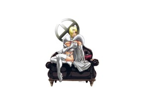 Картинка girl, fantasy, cleavage, X-Men, minimalism, breast, blue eyes, Marvel, comics, coat, blonde, Emma Frost, sofa, …