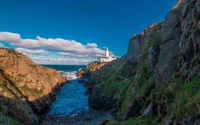 Картинка море, облака, пейзаж, скалы, маяк, Ирландия, Donegal, Fanad Head Lighthouse, Графство Донегол
