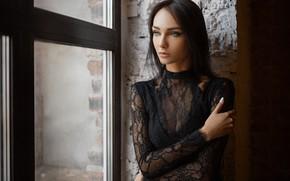 Обои взгляд, девушка, поза, рука, портрет, окно, Ксения, Sergey Fat, Сергей Жирнов