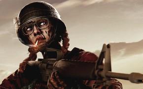 Картинка рендеринг, кровь, очки, солдат, сигарета, автомат, шлем