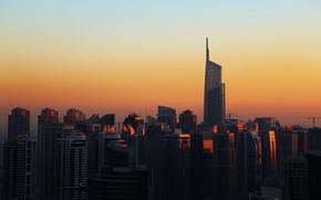 Картинка Закат, Город, Дом, Здания, City, House, Дубай, Архитектура, Dubai, Sunset, Небоскреб, UAE, United Arab Emirates, …