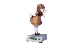 Картинка минимализм, аниме, арт, девочка, белый фон, весы
