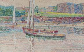 Картинка пейзаж, река, лодка, картина, пуантилизм, Yvonne Canu, Ивонн Кану, Жизнь на Ниле
