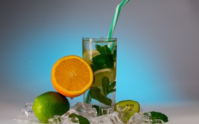 Обои мята, лёд, лайм, лимонад, стакан, фреш, апельсин, напиток, киви, цитрусовые