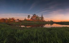 Картинка трава, пейзаж, закат, природа, река, село, храм, берега, Дунилово, Виталий Левыкин