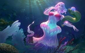 Картинка море, океан, медуза, фэнтези, арт, Jon Neimeister, Lady of the Sea Discordia