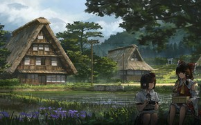 Картинка природа, дом, девочки, Touhou, Тоухоу