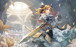 Картинка девушка, меч, рыцарь, сейбер, Fate / Grand Order, Судьба великая кампания