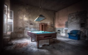 Картинка стол, комната, бильярд, окно