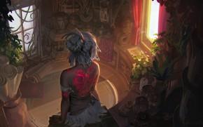 Картинка девушка, комната, спина, тату, окно, арт, Mingchen Shen