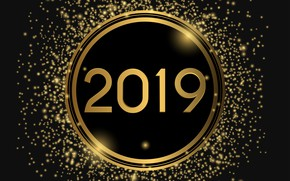 Картинка фон, золото, Новый Год, цифры, golden, New Year, Happy, 2019