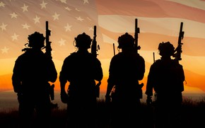 Картинка армия, флаг, солдаты, США