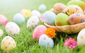 Картинка трава, цветы, яйца, Пасха, spring, Easter, eggs, decoration, pastel colors