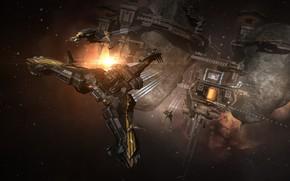 Картинка туманность, планета, станция, астероиды, Космос, space, космический корабль, eve online, space ship, космоопера