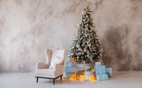 Картинка елка, новый год, подарки, украшение