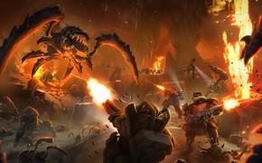 Картинка насекомые, оружие, огонь, монстры, гномы, пещера, броня, обстрел, Deep Rock Galactic