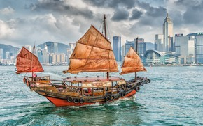 Картинка здания, дома, бухта, Гонконг, гавань, Hong Kong, джонка, Бухта Виктория, Коулун, Kowloon, Victoria Harbor