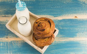 Картинка завтрак, молоко, булочки