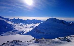 Картинка зима, солнце, снег, утро, landscape, winter, mountain, snow, morning, sun