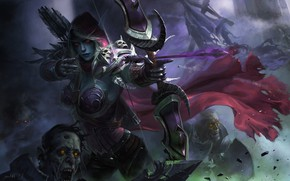 Картинка эльф, арт, битва, стрелы, дроу, Lei Wang, Forsaken return