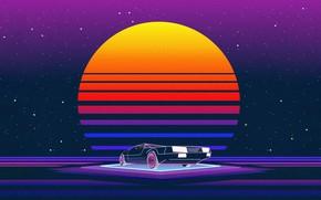 Картинка Солнце, Музыка, Машина, Звезда, Стиль, Фон, 80s, Style, Neon, Illustration, 80's, Synth, Retrowave, Synthwave, New …