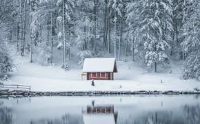 Картинка ice, house, winter, lake, snow