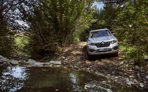 Картинка вода, камни, Renault, пикап, 4x4, кустарник, 2017, Alaskan, серо-серебристый