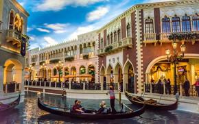 Картинка город, здания, лодки, освещение, Лас-Вегас, канал, США, отель, гондолы