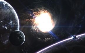 Картинка Планета, Космос, Туманность, Звезда, Планеты, Planets, Кольцо, Star, Арт, Space, Блик, Art, Кольца, Спутник, Planet, …