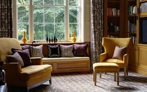 Картинка стиль, комната, интерьер, кресла, библиотека, cogshall hall