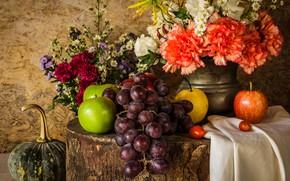 Обои цветы, яблоки, букет, виноград, тыква, фрукты, натюрморт, овощи, груши, flowers, fruit, grapes, still life, vegetable