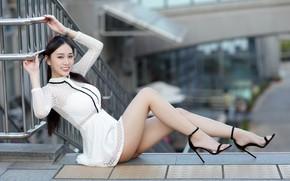 Картинка девушка, платье, ножки, азиатка