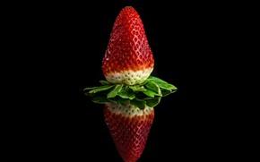 Картинка отражение, клубника, ягода