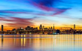 Картинка мост, огни, Нью-Йорк, панорама, США