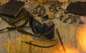 Картинка ретро, очки, фотоаппарат, Разное, Ключи