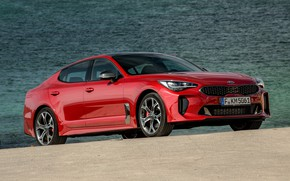 Картинка красный, KIA, водоём, Kia, пятидверный, Stinger, Stinger GT, фастбэк, KIΛ