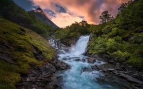 Картинка река, утро, склон, поток воды
