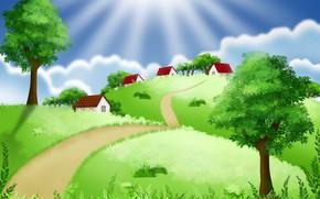 Картинка дорога, лето, небо, деревья