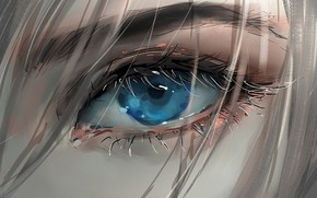 Картинка girl, art, blue eyes, face, blonde, digital art, artwork, eyelashes, Eye