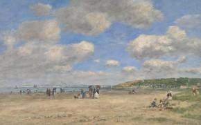 Картинка пейзаж, картина, Эжен Буден, Eugene Boudin, Пляж в Тургевиль-ле-Саблон