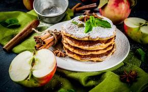 Картинка яблоки, шоколад, мед, корица, блины, мята, ваниль, сахарная пудра, анис