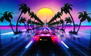Картинка Авто, Дорога, Музыка, Lamborghini, Пальма, Ретро, Машина, Стиль, Пальмы, Фон, 80s, Style, Суперкар, Neon, Illustration, …